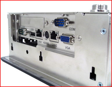 "AbraxSyhs AS084P4PCC 8.4"" Industrial Grade NEMA 4 (IP65) WinCE based HMI Touch Screen Close up of Connector Area"