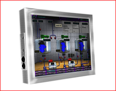 "AbraxSys AS150V4X 15"" NEMA 4X (IP66) Fully-Enclosed VESA Mount LCD Flat Panel Front View"