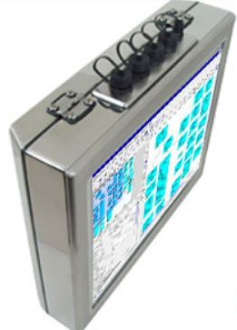 "AbraxSys AS150V4XPC 15"" NEMA 4X (IP66) Fully-Enclosed Touch Screen LCD & Integrated Computer Front View and Connector Area"