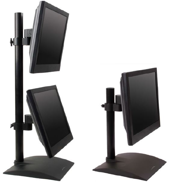Dual flat panel stand with pivot and tilt