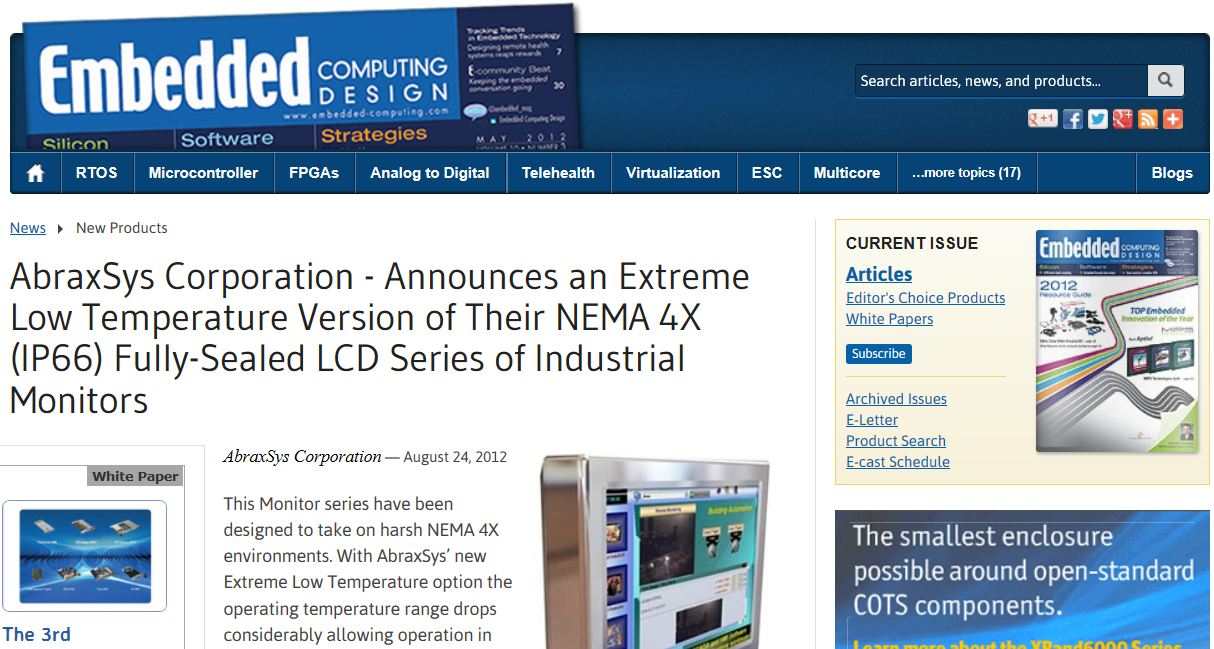 AbraxSys Featured in Embedded Computing Design