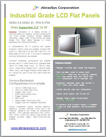 Industrial Grade LCD Flat Panels Product Flyer Link