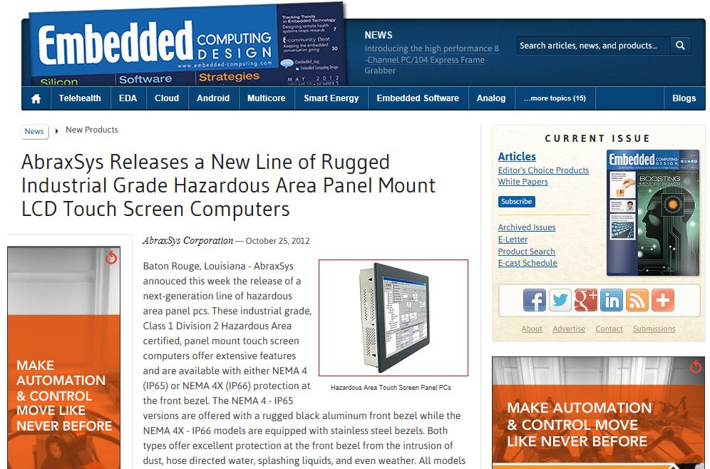 Embedded Computing Design Magazine News - AbraxSys HazLoc Panel PCs