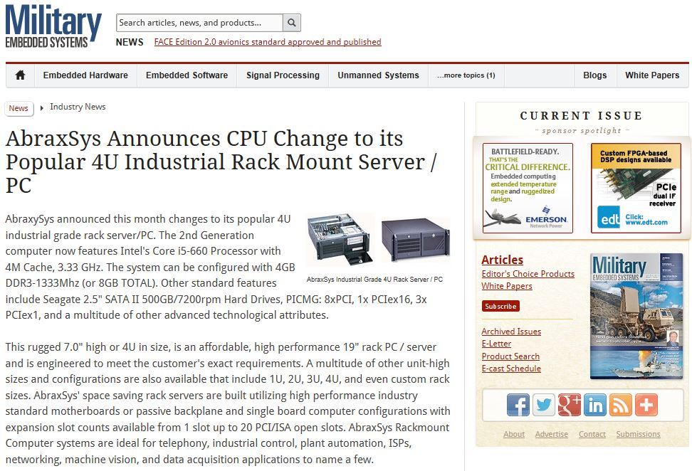 March 2013 News Article in Military Embedded Systems Publication