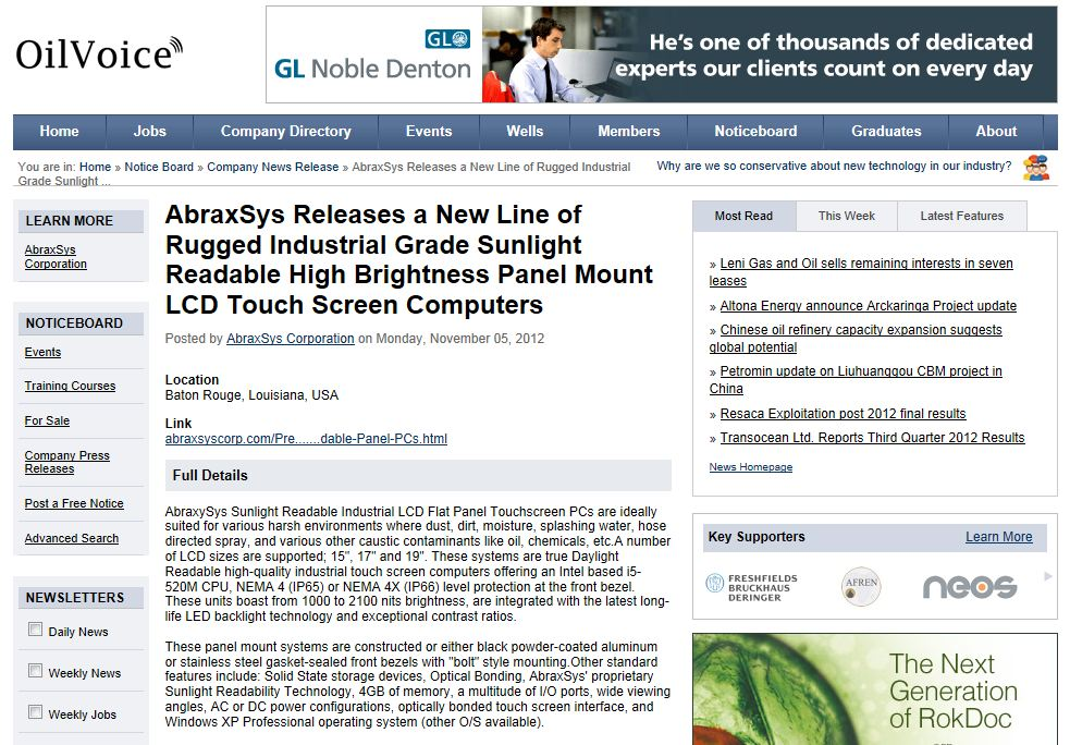 AbraxSys OilVoice Article - Rugged Sunlight Readable High Bright Touch Screen Panel PCs